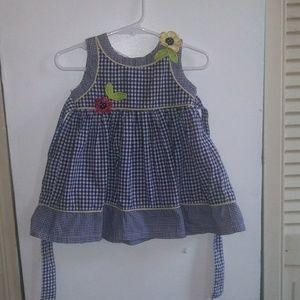 Blueberi Boulevard Flower Plaid Dress 18M